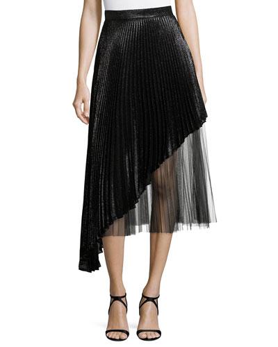 Asymmetric Pleated Lamé And Tulle Midi Skirt in Black