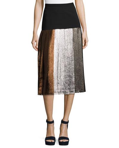 Pleated Lamé Drop-Waist Skirt, Multi