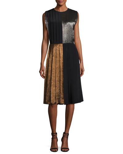 Metallic Lamé Colorblock Dress, Multi