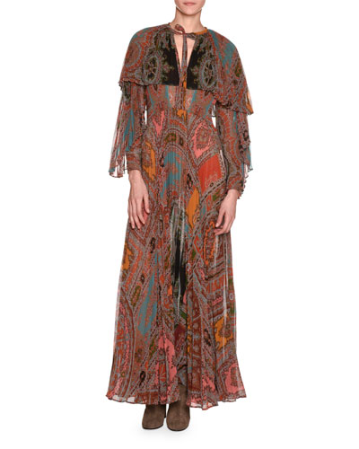 Long-Sleeve Printed Plissé Silk Gown with Capelet, Red