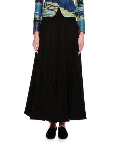 Box-Pleated Wide-Leg Fashion Pants, Black