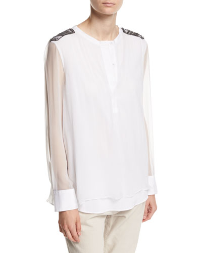 Long-Sleeve Silk Organza Henley with Monili & Swarovski® Details, White