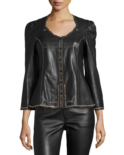 Blizzy Studded Leather Jacket, Black