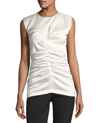 Exer Ruched Sleeveless Top, Ecru