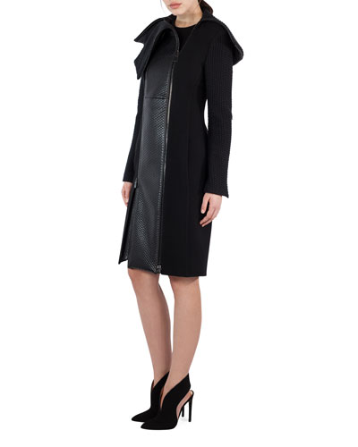 Textured Wool & Lamb Leather Coat, Black