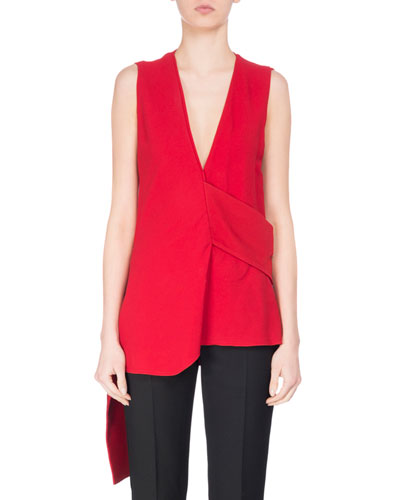 Sleeveless Asymmetric Crepe Blouse, Red