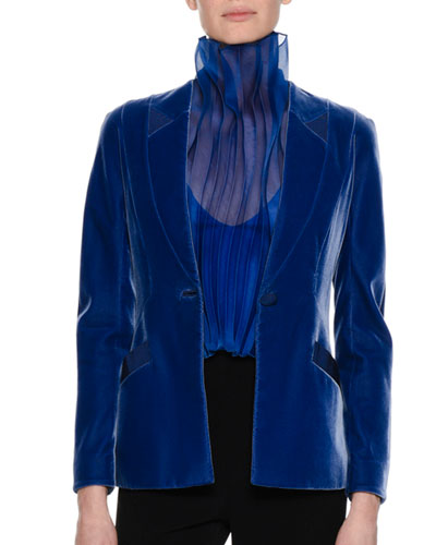 Velvet Single-Button Jacket, Royal Blue