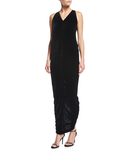Sleeveless Velvet V-Neck Tank Gown