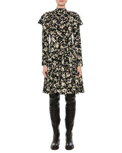 Ruffled Long-Sleeve Floral Circle Dress, Black/Green