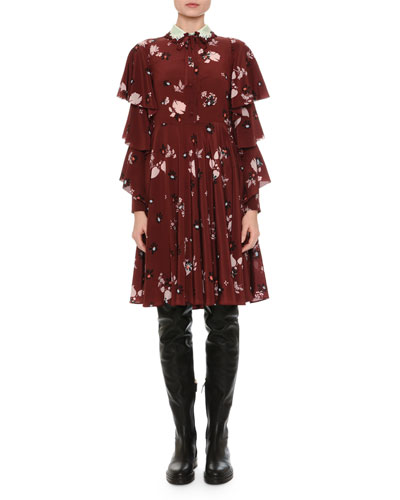 Floral-Print Tiered-Sleeve Crepe Dress, Wine