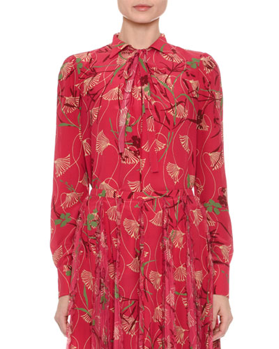 Floral Circle Tie-Neck Blouse, Pink Pattern
