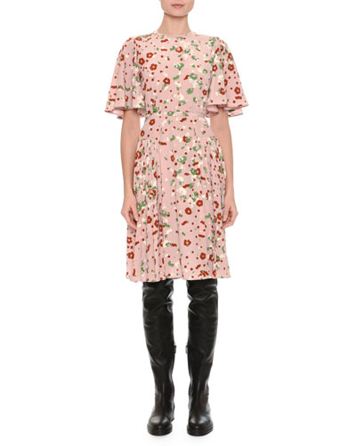 Floral-Print Flutter-Sleeve Dress, Pink Pattern