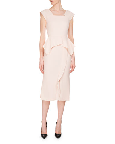 Sawleigh Cap-Sleeve Peplum Dress, Blush