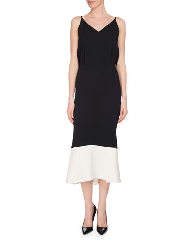 Beadlow Sleeveless Colorblock Trumpet Dress, Black/White