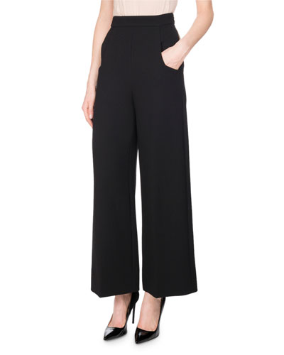 Ward Wide-Leg Wool Trousers, Black