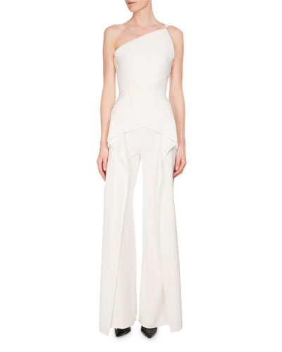 Hirsch One-Shoulder Crepe Jumpsuit, White