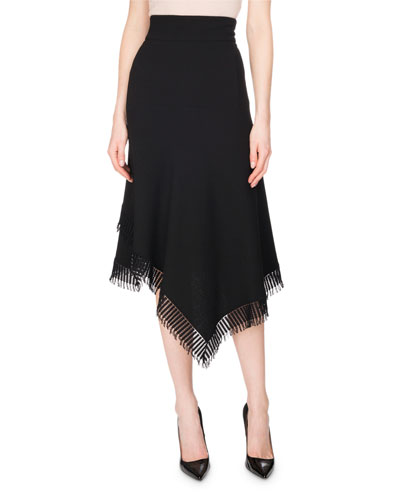Tarring Asymmetric Midi Skirt, Black