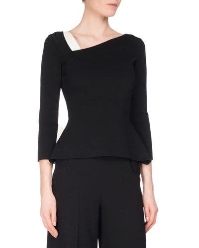 Penhurst Asymmetric 3/4-Sleeve Top, Black/White
