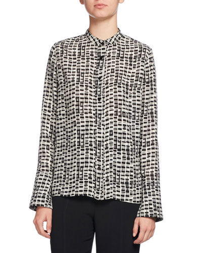 Long-Sleeve Printed Georgette Blouse, Black/Gray