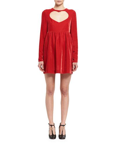 Long-Sleeve Velvet Heart-Cutout Minidress, Red