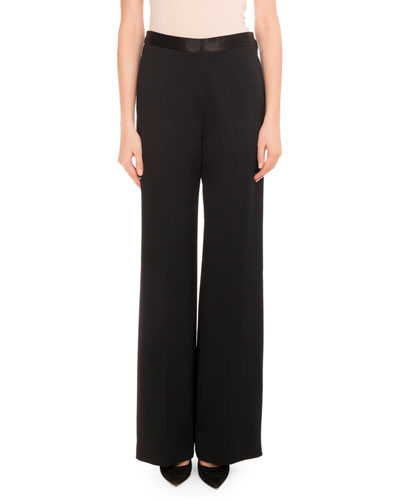 Fluid Crepe Trousers, Black