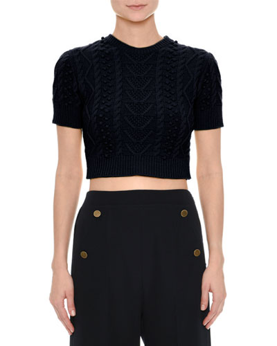 Short-Sleeve Cable-Knit Crop Top, Navy