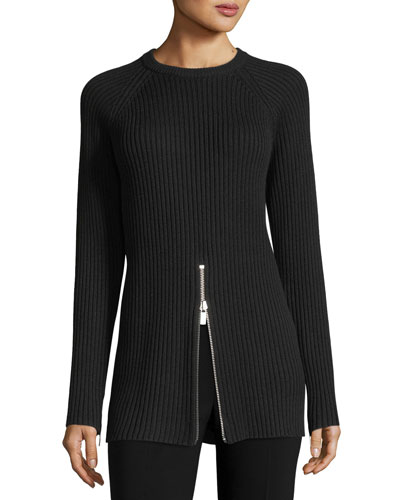 Ribbed Crewneck Zip-Trim Sweater