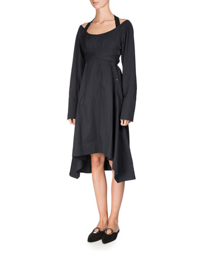 Long-Sleeve Sateen Harness Dress, Black