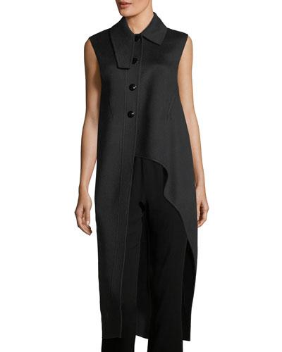 High-Low Virgin Wool-Alpaca-Cashmere Vest
