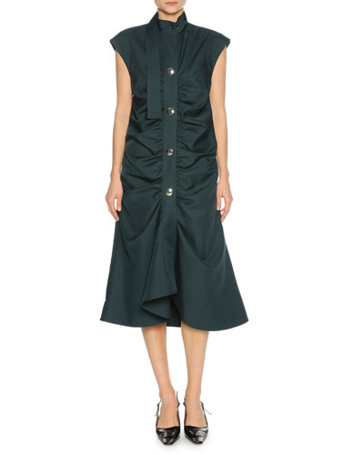 Cap-Sleeve Gathered-Front Midi Dress, Green