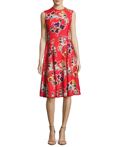 Floral-Print Sleeveless Dress, Red