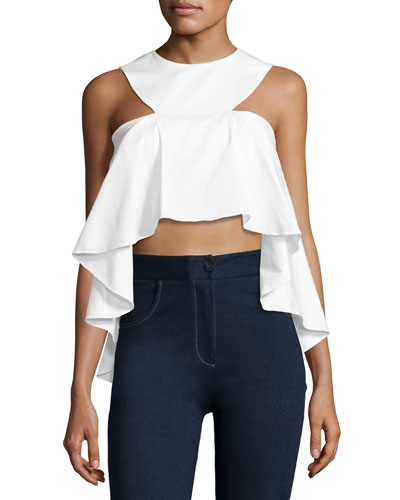 Cascading Cropped Poplin Top, White
