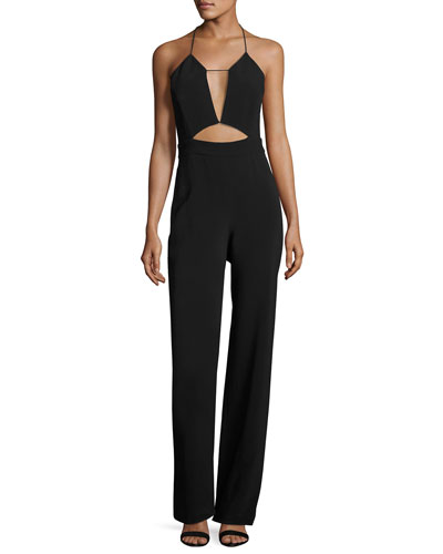 Cutout Cady Halter Jumpsuit, Black