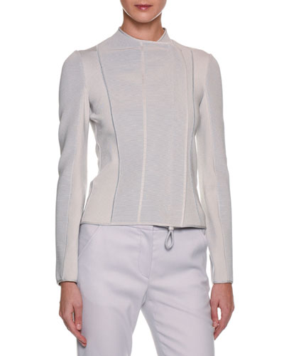 Ottoman-Ribbed Asymmetric-Zip Jacket, Gray