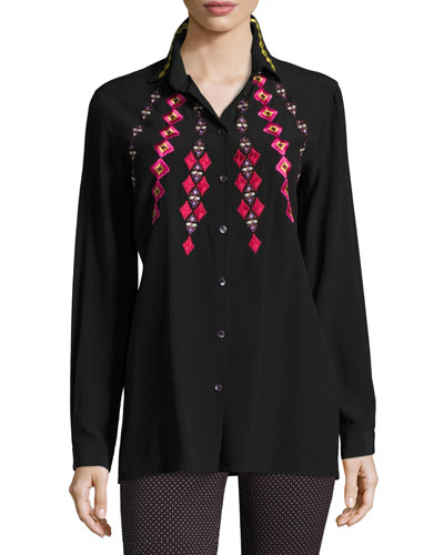 Geometric Embroidered Shirt, Black