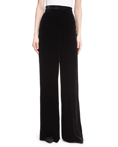 Largo Velvet High-Waist Wide-Leg Pants, Black