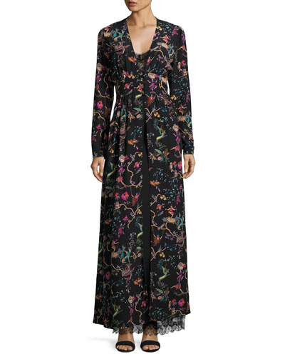 Mythical Floral Long-Sleeve Lace-Inset Gown, Black