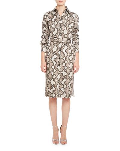 Cimarron Snake-Print Shirtdress, Beige