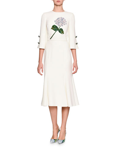 Hydrangea-Embroidered Elbow-Sleeve Dress, White