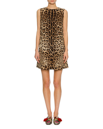 Sleeveless Leopard-Print Shift Dress