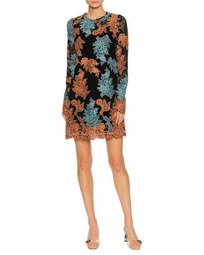 Long-Sleeve Lace-Embroidered Dress, Orange/Blue