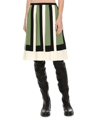 Colorblock-Pleated Crepe Skirt, Multi