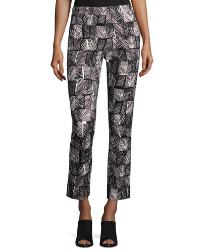 Palm-Print Cropped Pants, Black