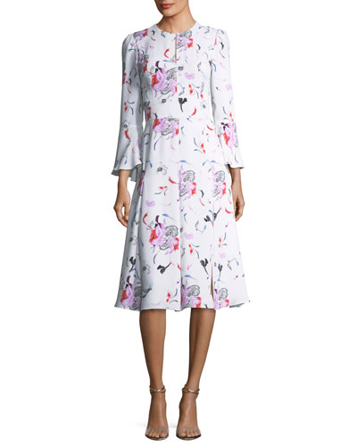 Flutter-Sleeve Floral Cady Dress
