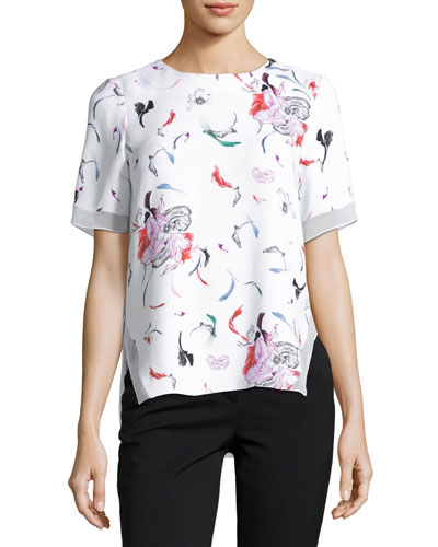 Floral-Print Short-Sleeve Top, White Pattern