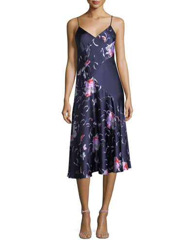 Floral-Print Satin Bias Slip Dress