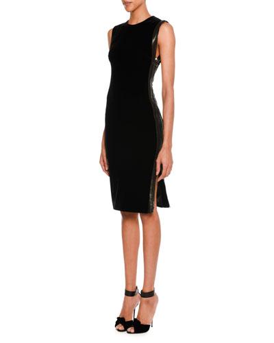 Sleeveless Leather-Trim Velvet Dress