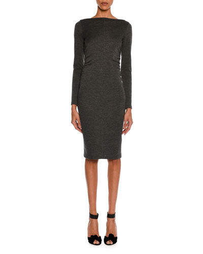 Mélange Jersey Long-Sleeve Ruched Dress