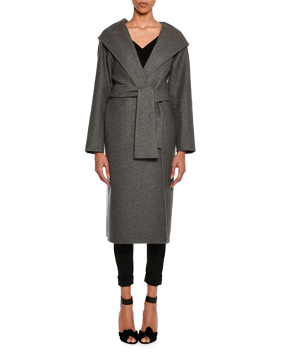 Cashmere Belted Coat with Hood, Gray