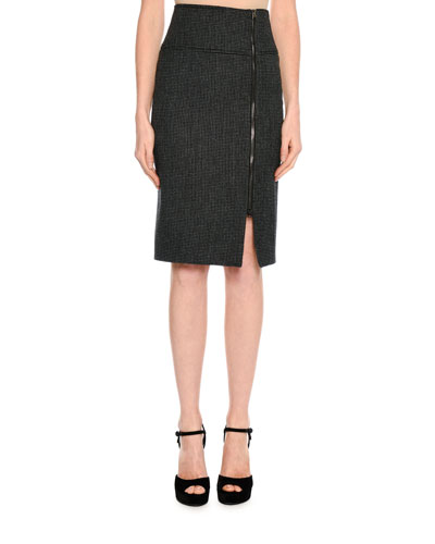 Birds Eye Wool-Blend Skirt, Black